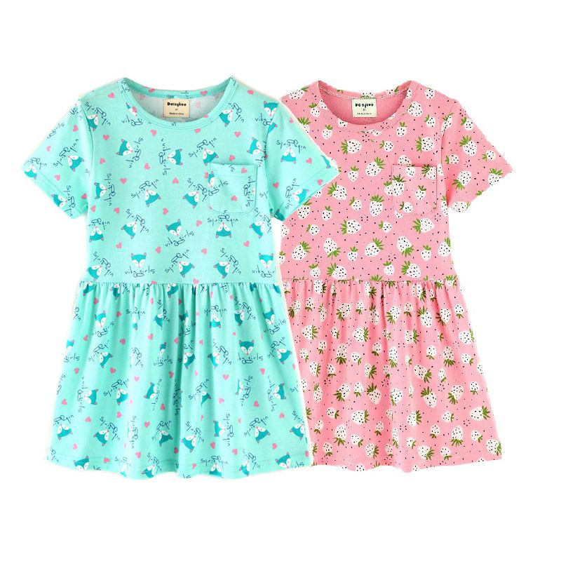 2pcs/lot Cotton Girls Dress Summer Costume for Kids Clothing Brand Children Party Dresses Cute Girls Clothes Princess Dress summer dresses for girls party dress 100% cotton summer cool and refreshing the harness green flowered dress 1 5years old