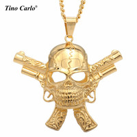 Tino Carlo New Famous US Rock Band Pistol Gun Skull Head Pendant Stainless Steel Golden Necklace