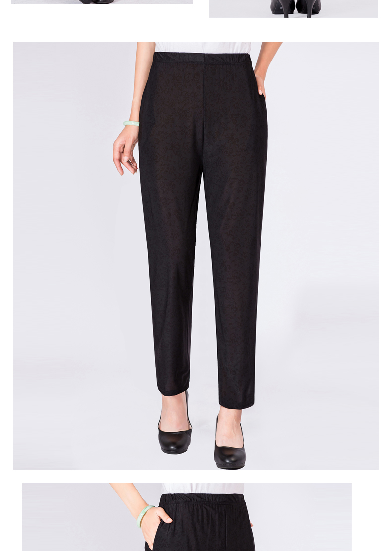 Elderly Women Casual Pants Gray Black Shadow Pattern Trousers Female High Waist Elastic Band Pantalones Mujer Mother Leisure Pant Summer (9)