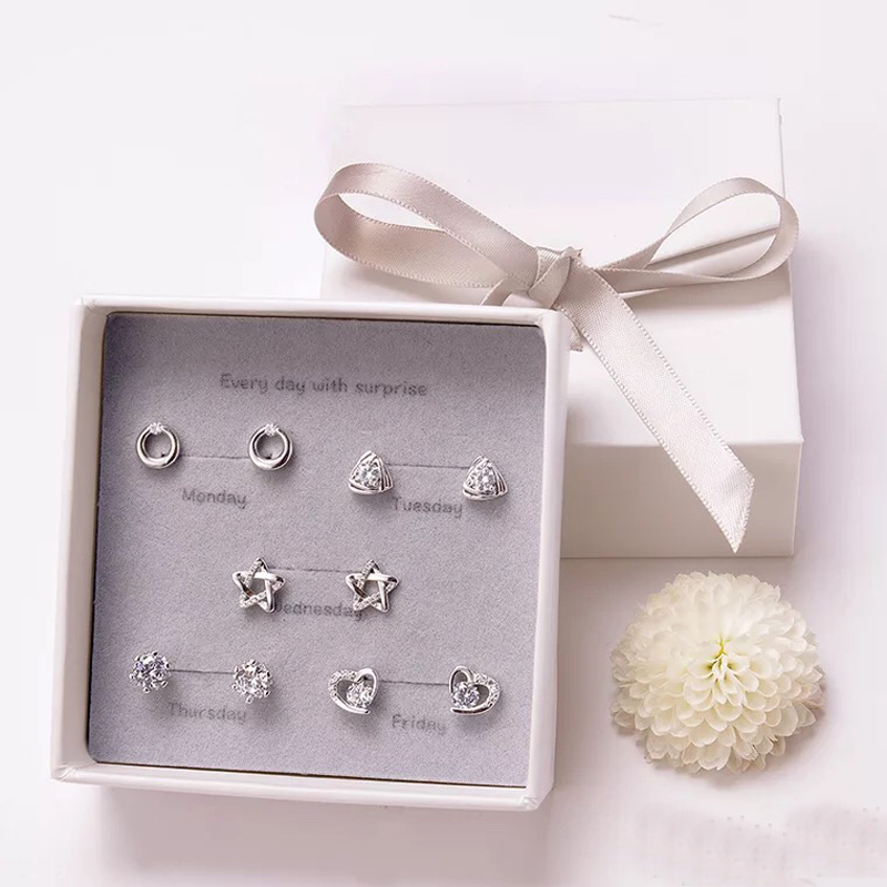 Earring Set Simple 925 Sterling Silver Needle 5 Pairs of Stud Earrings with Gift Box Package a Week Earring for Women Daily Wear цена