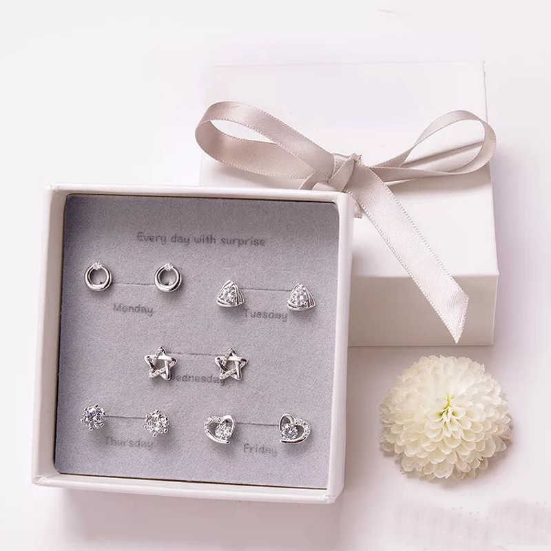 50e83895b6 Earring Set Simple 925 Sterling Silver Needle 5 Pairs of Stud Earrings with  Gift Box Package