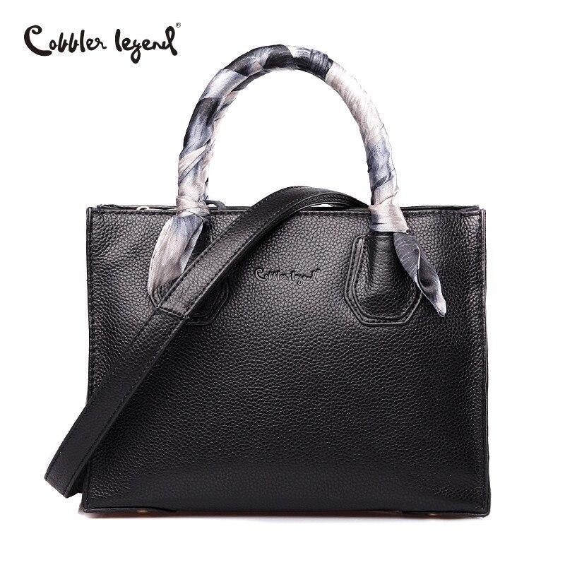 Cobbler Legend Luxury Handbags Genuine Leather Bag with Silk Scarf Mercer Tote Women Messenger Bag Female Designer Famous Brands cobbler legend 2015 messenger 100