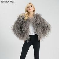 Jancoco Max 2019 New Design Real Ostrich Fur Jacket Women Lady Fashion Winter Coat S1602