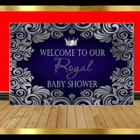 custom Royal Blur And Silver Prince Crown Baby Shower Flower backdrops Computer print party background