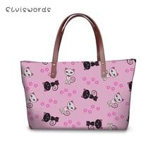ELVISWORDS Luxury Handbags Women Bags Designer Black White Cats Prints Pattern Woman Clutch Kawaii Animal Ladies Totes