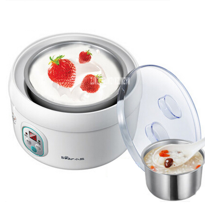 цены  New Arrival SNJ-5361 yogurt machine home automatic sub-cup stainless steel liner brewed rice wine machine 1L 220-240V 20W Hot