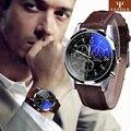 Espléndida Nueva Moda de Imitación de Cuero de Lujo Hombres Rayo Azul de Cristal de Cuarzo Analógico Relojes Casual Reloj Fresco Hombres de la Marca de Relojes 2016
