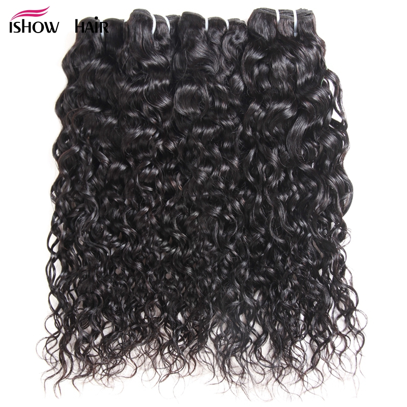 Ishow Malaysian Human Hair 4 Bundles Water Wave Hair Natural Color Hair Weave Bundles 8 28