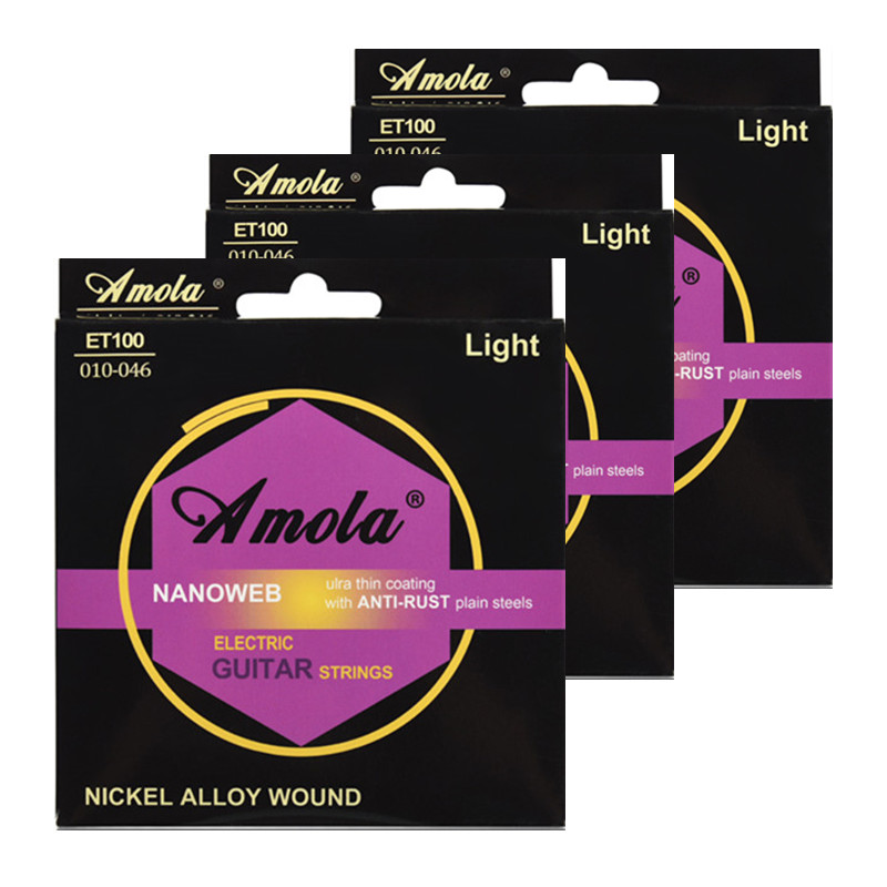 Electric Guitar Strings Amola ET100 010-046 Bright Tone Round Wound Ulra Thin Coating Nickel Plating Winding 3 sets
