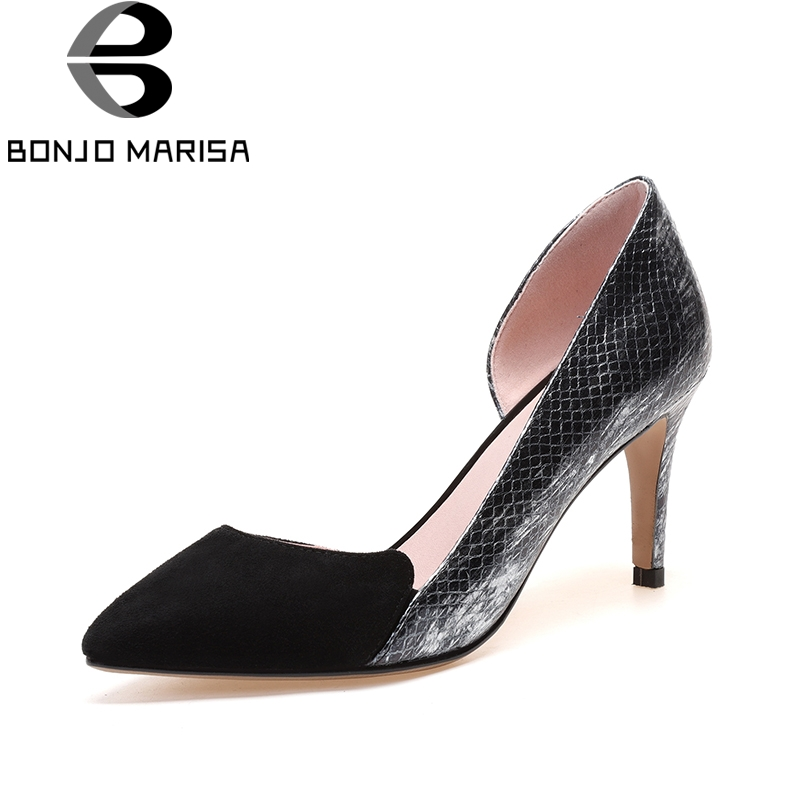 BONJOMARISA 2018 Cow Genuine Leather Summer Black Patchwork Pumps Shoes Women Thin High Heels Pointed Toe Woman Shoes lapolaka cow genuine leather mix color spring summer pointed toe women shoes pumps thin high heels shoes woman