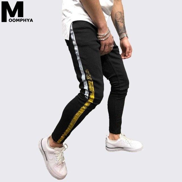 Moomphya Side striped men jeans Printing slim fit jeans men Hip hop men long pants jean homme streetwear black skinny jeans men