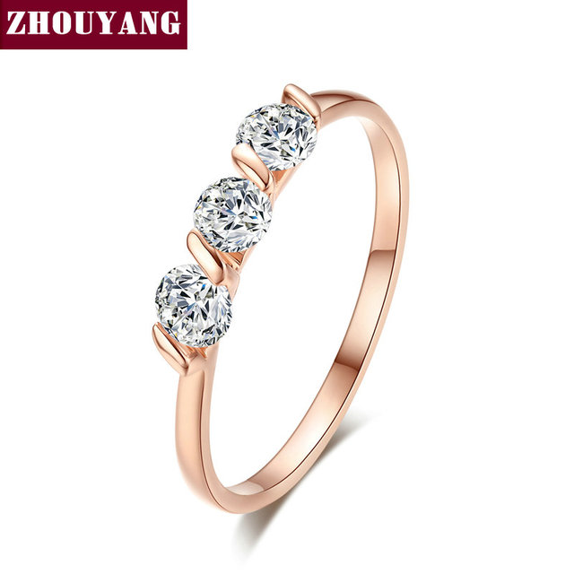 ZHOUYAN Engagement Wedding Ring For Women Classic Simple CZ Austrian Crystal Ros