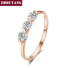 ZHOUYAN compromiso boda anillo para mujer clásico Simple CZ cristal austriaco oro Color de rosa de moda amante de la joyería de anillo R067