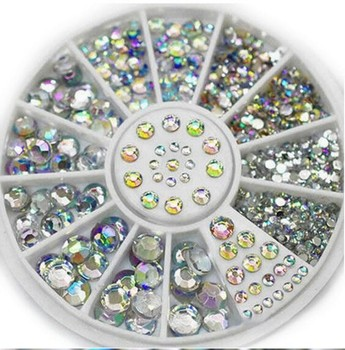 1000Sets New 5 Sizes Nail Art Tips Crystal Glitter Rhinestone 3D Nail Art Decoration Wheel Free Shipping