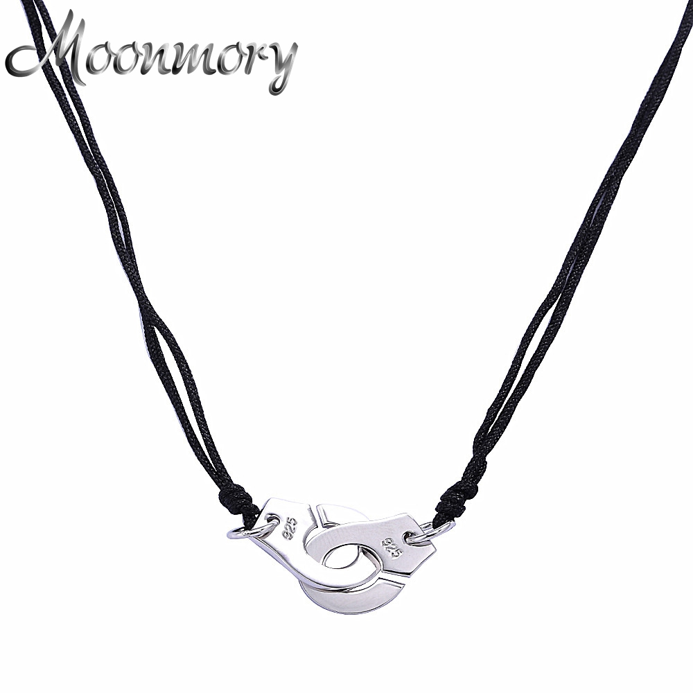 Moonmory France Famous Jewelry 925 Sterling Silver Handcuff Pendant & Necklace For Women Collana in argento di alta qualità con corda