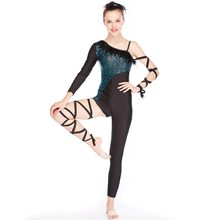MiDee Asymmetric Pattern with Sleeve and Legging Acrobat Costume Jazz Costumes Dance Wear Bodysuit Rock Clothing(China)