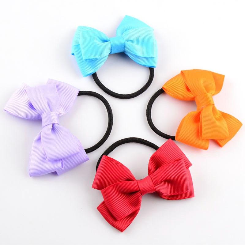 200pcslot 3 Girls Grosgrain Ribbon Cute PonyTail Holders Hair Bows For Children Hair Loops Elastic Bands Kids Hair Accessories