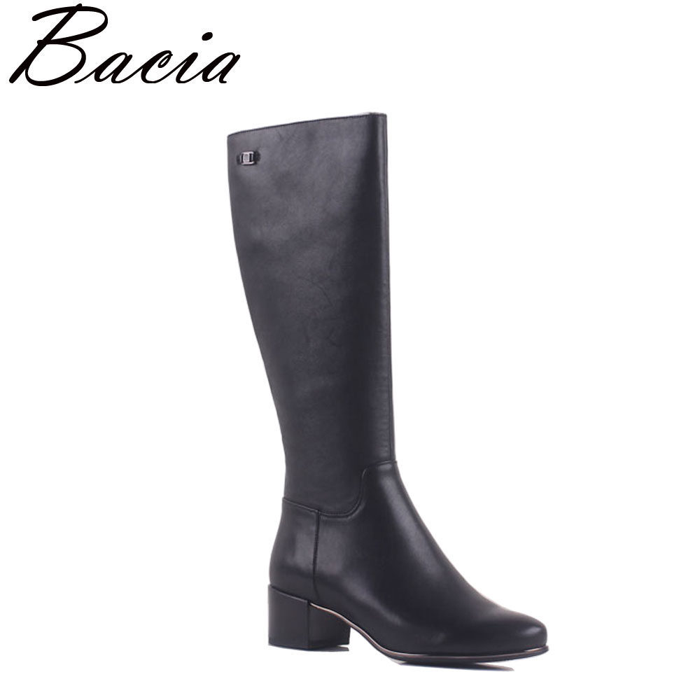 Bacia Autumn Boots Genuine Leather Women Shoes 36cm top 5cm Square Heel Simple Fashion Style With Synthetic Size 35-40 MA004 kelme 2016 new children sport running shoes football boots synthetic leather broken nail kids skid wearable shoes breathable 49