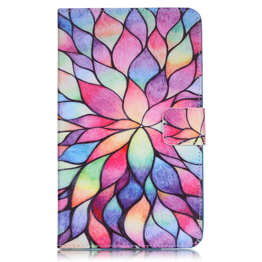 Flower Cartoon Book Style Flip PU Leather Cover for Samsung Galaxy Tab 4 7.0 SM-T230 SM-T231 T235 Case with Card Holder wefor cover silicon leather case for samsung galaxy tab a 9 7 sm t550 t555 flip book style stand w card holder [painting]