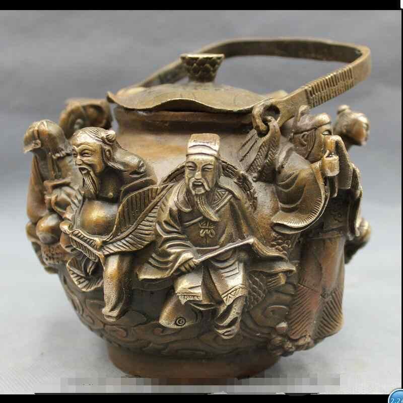 "Wan67104031 + + + 8 ""Bronze Tembaga 8 Dewa Dewa BaXian GuoHai Patung Anggur Pot"