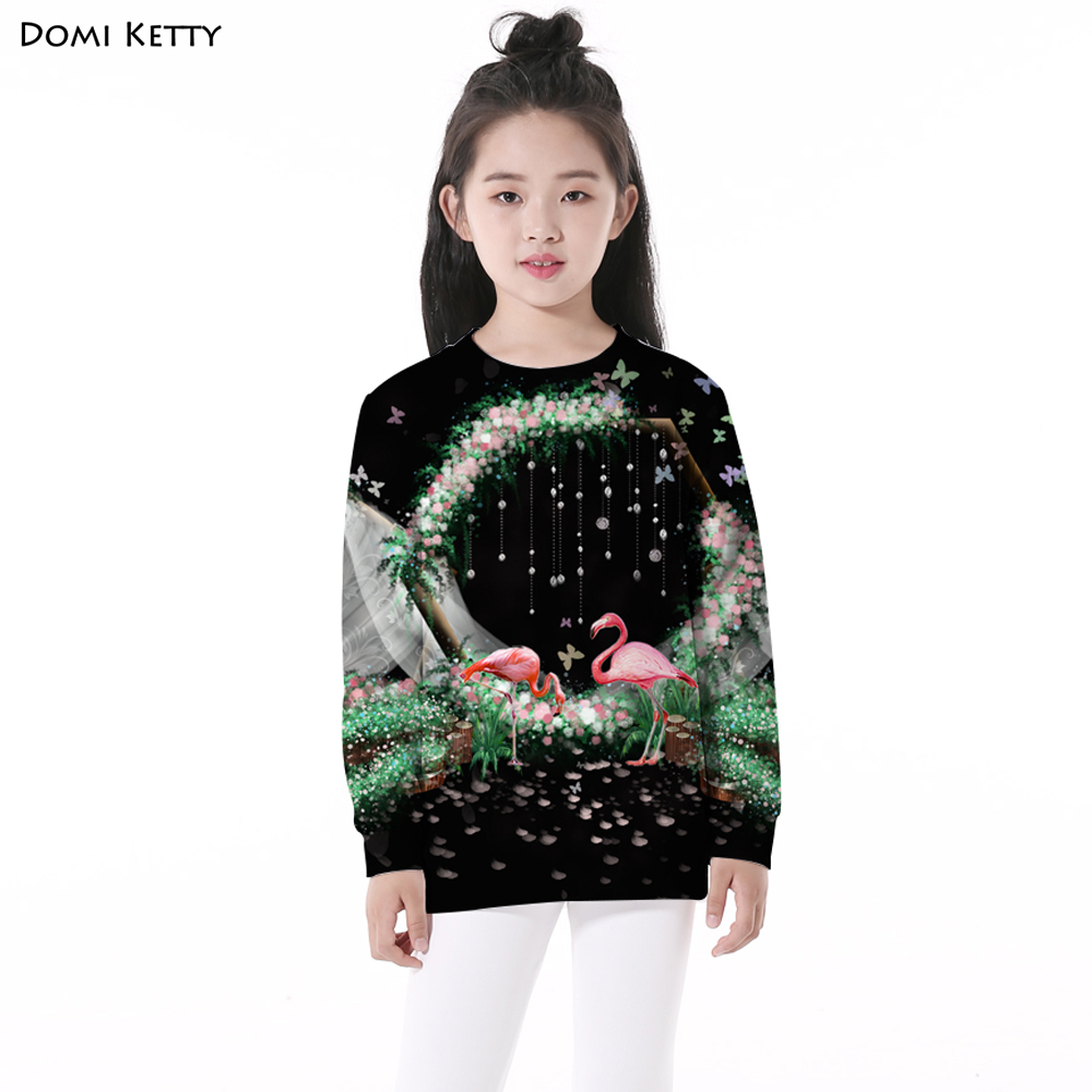 Domi Ketty flowers children hoodies print flamingo leaves girls boy casual long sleeve sweatshirts cartoon kids pullover clothes rabbit print pullover