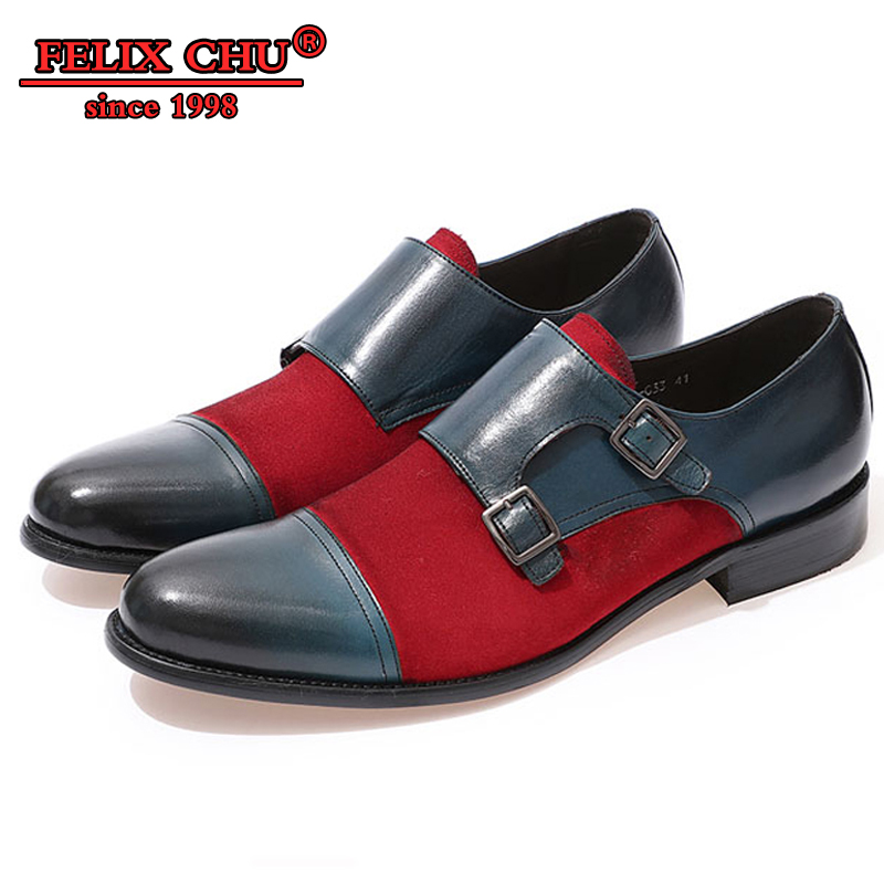 Luksusowa marka mężczyźni buty wsuwane mężczyźni podwójne mnich pasek Cap Toe prawdziwej skóry buty zamszowe nowoczesne suknia ślubna mężczyzn buty w stylu casual w Buty wizytowe od Buty na  Grupa 1