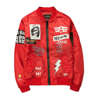 New Street fashion Men Bomber MA1 jacket Retro Embroidery Anarchy Coat Printing Design Black Red Army green