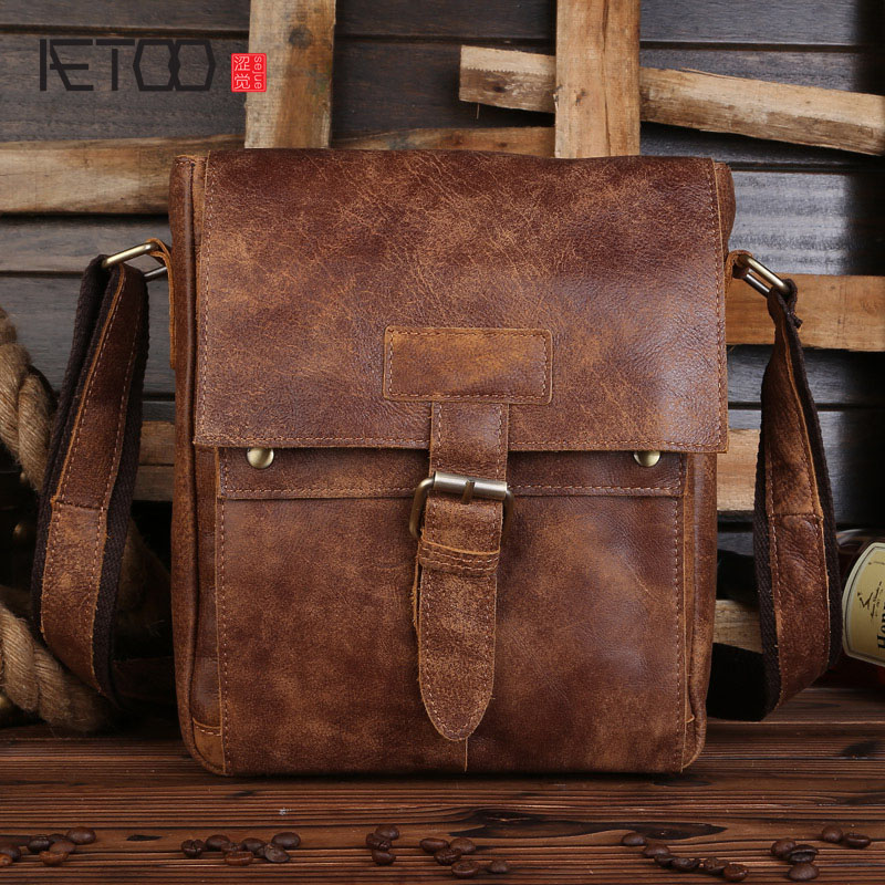 AETOO First layer of leather shoulder bag diagonal package sanding skin catalog of teratogenic agents first edition