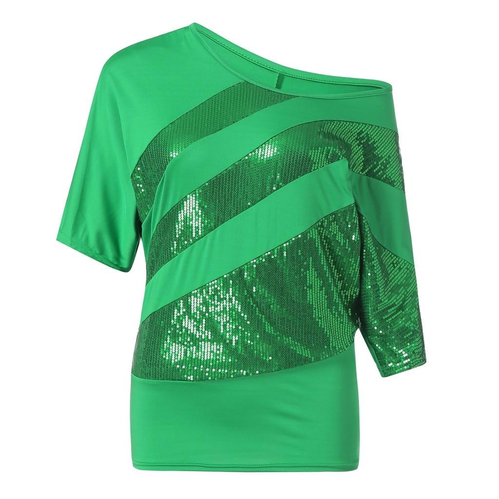 Womail Sequin Moda Causel Mulheres top t-shirt do Verão T-Shirt Top Ombro Frio Plus Size t-shirt 2019 dropship f3
