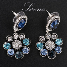 Luxury Korean Earrings for Women Earring Baroque Statement Jewelry Silver Tone Austrian Crystal Top Quality