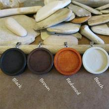 5pcs wood pendant blanks wooden trays diy blank round cabochon base settings 25mm 30mm jewelry for necklace making