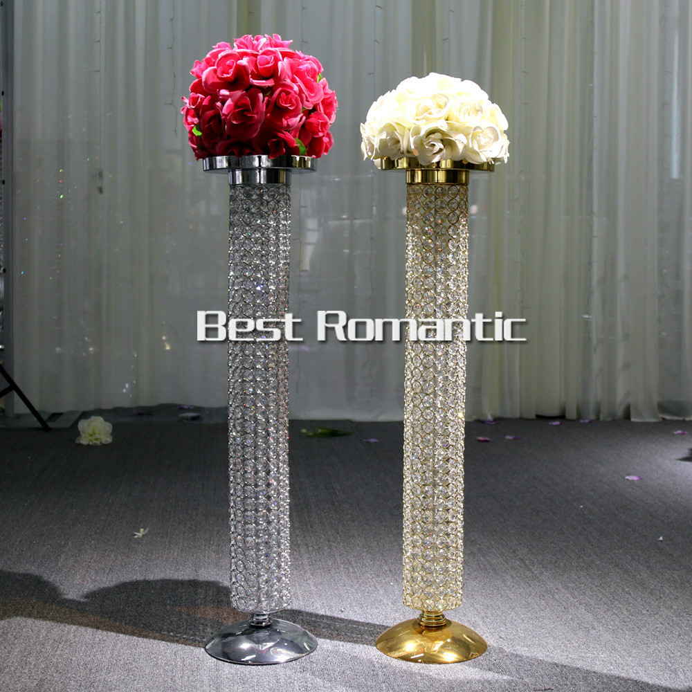 Candle Holders Romantic 10 Pcs 60cm Tall Flower Stand Wedding Table Centerpiececs Sliver Crystal Stages Pillars For Wedding Centerpiece With Led