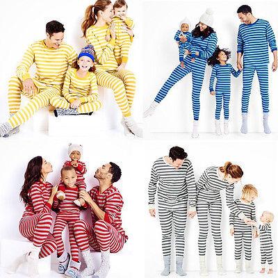 Navidad de La Familia de Los Hombres ropa de Dormir Pijamas Set Pijamas Trajes de Algodón A Rayas