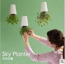 Free Shipping 1Piece Sky Planter Upside-Down Plant Pot Novelty Gift Home Garden Decor