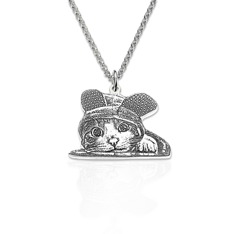 Wholesale Photo Necklace Sterling Silver Pet Silhouette Pendant Custom Engraved Jewelry