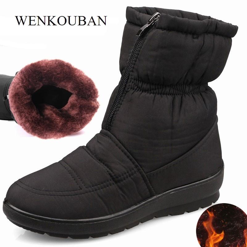 Image 3 - Winter Boots Women Shoes Platform Female Snow Ankle Boots Waterproof Ladies Plush Insole Fur Bota Feminina 2020 Black BotineAnkle Boots   -