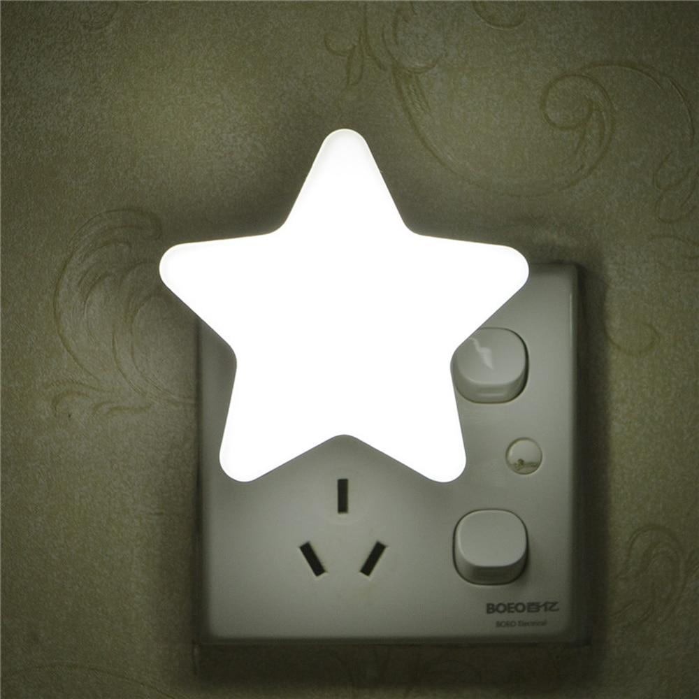 EU Light Sensor Control Mini Star LED Night Light For Dark Night Children Bedroom Bedside Lamp With US Plug  Sleeping Light  Q