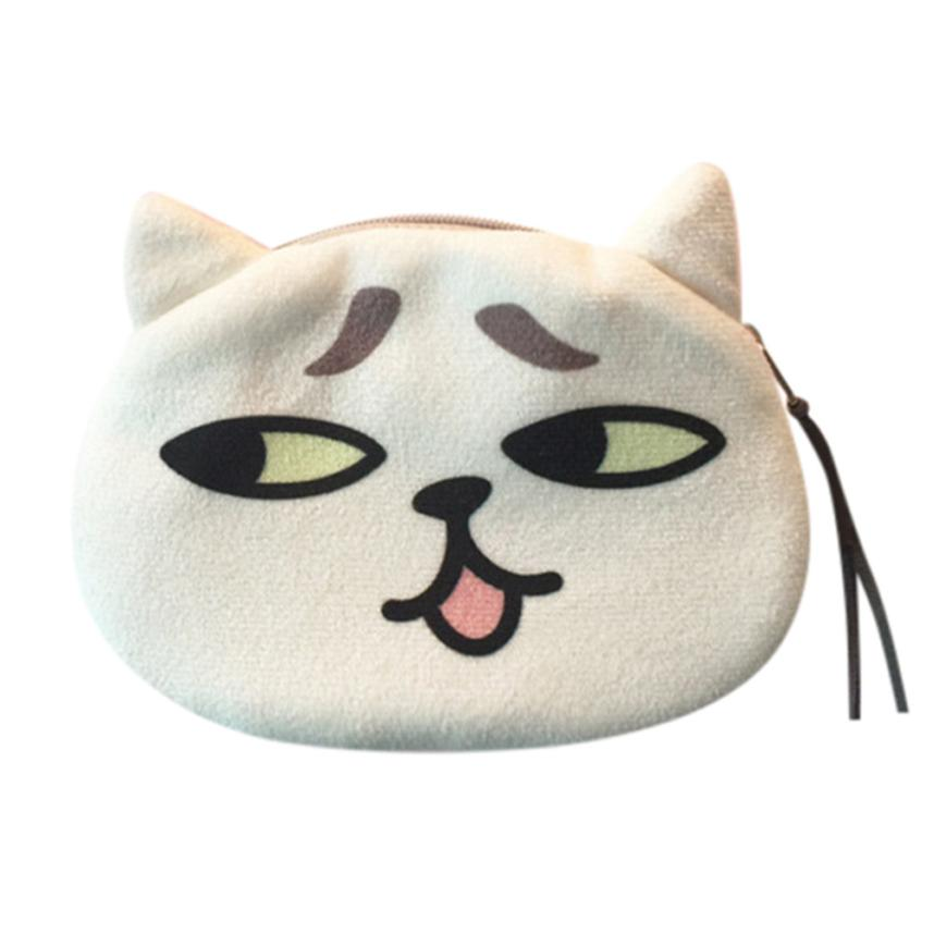 Women Cute Print Cat Face Coin Purses Girl Plush Change Purse Bag Small Wallet Wholesale Dropshipping #Y m215 cute cartoon pets akita dog siberian husky personality plush coin purse wallet girl women student gift wholesale
