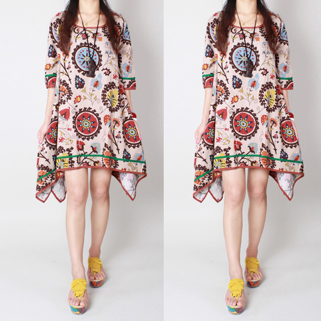 Summer Boho Hippie Dress Women Casual Cotton Linen Loose Kaftan Long Sundress