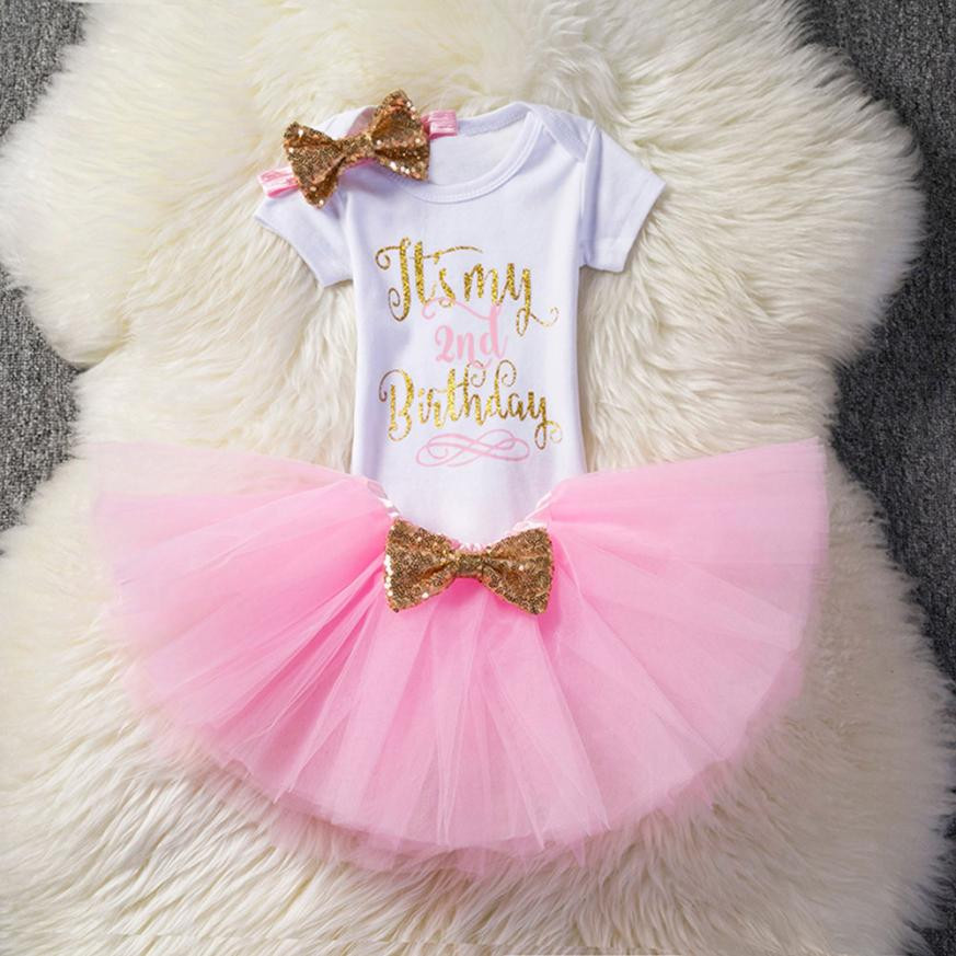 MUQGEW Childrens Clothes Newborn Kids Baby Girl Birthday Party Outfits Clothes Romper+Skirt+Headband Set Summer 2018