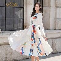 VOA женские платья элегантный натуральный шелк женское платье белые летние с длинными рукавами и принтом Вечерние платья женские роскошные