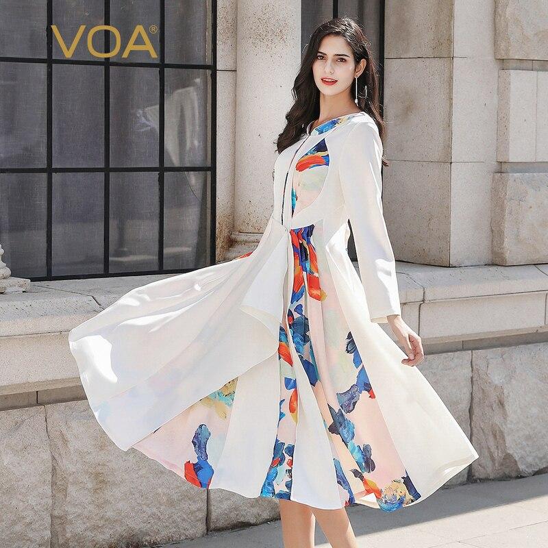 VOA Ladies Dresses Elegant Natural Silk Women Dress White Summer Long Sleeve Print Party vestidos Female Luxury Designer A10136