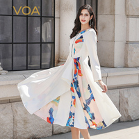 VOA Ladies Dresses Elegant Natural Silk Women Dress White Summer Long Sleeve Print Party vestidos Female Luxury Designer A10136