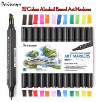 STA 12Colors Standard Sketch Markers Pen Oily Alcoholic Dual Headed Marker Set For Drawing Manga Natural
