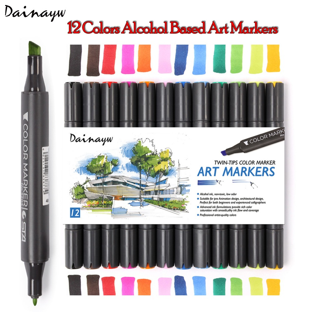 Dainayw 12Colors Artist Double Headed Sketch Markers Design Paint Alcohol Based Ink Sketch Manga Markers for Art Supplies двери металлические входные в алмате