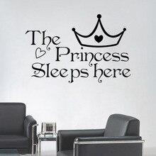 Naklejka na ścianę Księżniczka tutaj śpi ANG