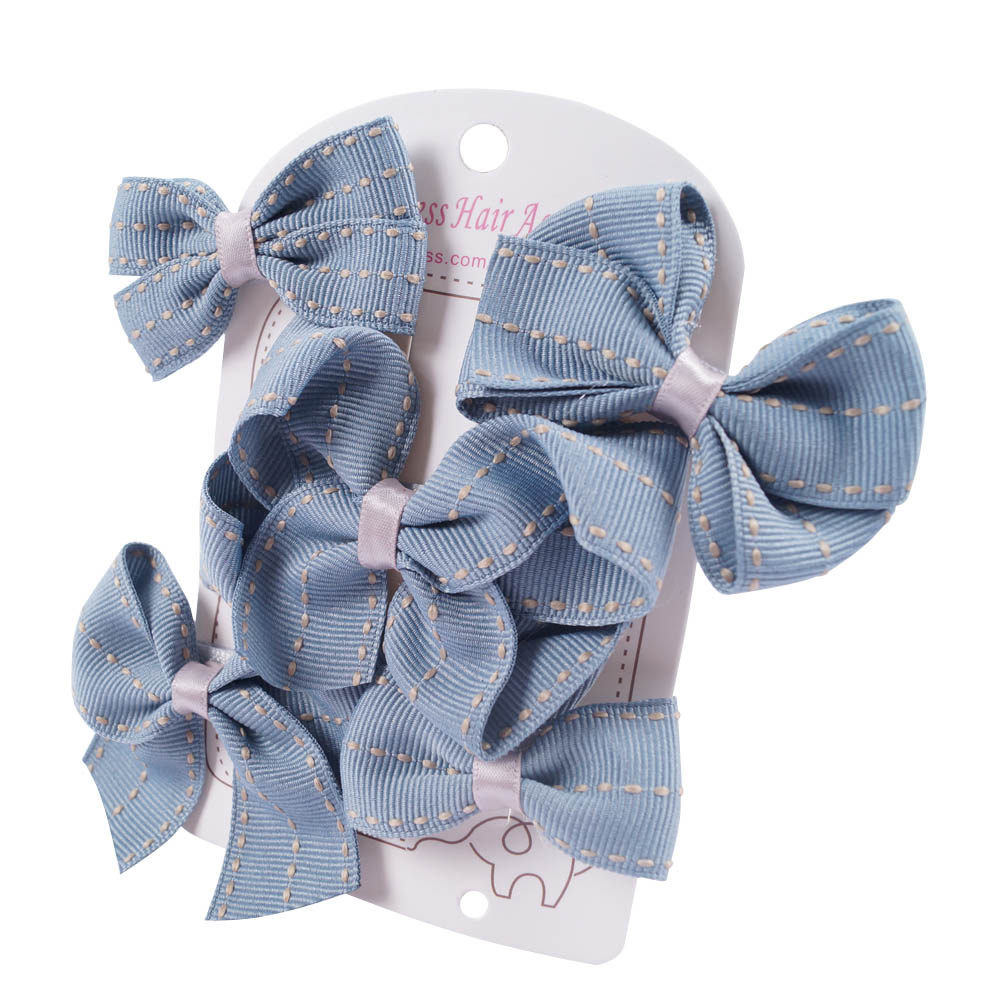1 Set Girls' Minimalism Hairbow Kit Jeans Grosgrain Ribbon Hairclips With Safety Clips Handmade Hairbows Kids Hair Accessories