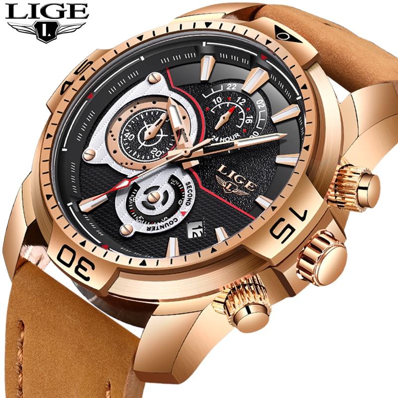 2018 LIGE New Watches Men Fashion Leather Quartz Clock Mens Watch Top Brand Luxury Waterproof Sport Wristwatch Relogio Masculino цена
