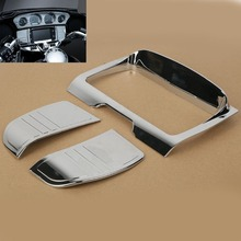 Motorcycle Tri Line Stereo Trim Fairing Cover For Harley Touring Street Glide FLHX 2014-Up 15 16 17 18 Chrome