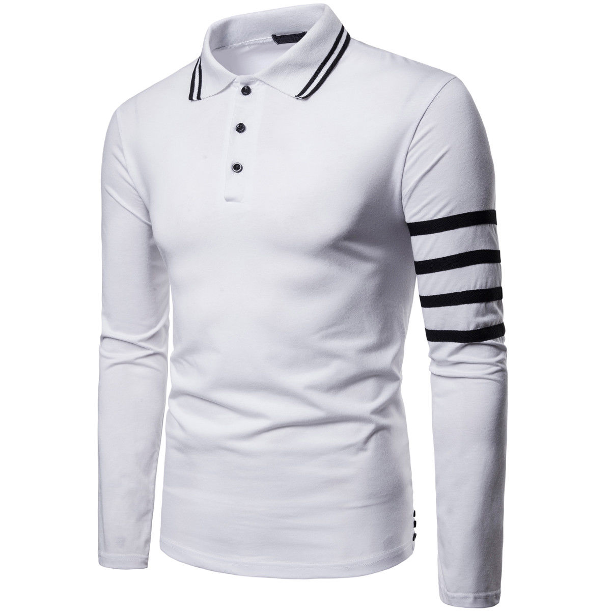 Autumn New Arrival Mens Turn Down Collar Long Sleeve Shirts Casual Slim Fit Stripe Golf Shirt Tops 3 Colors